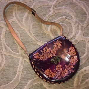 🌷WABAGS🌷Brown tooled leather floral purse